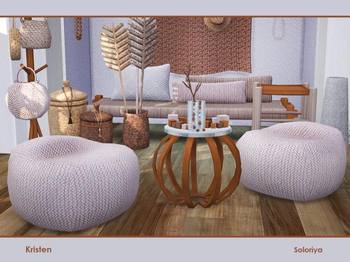 Набор плетеной мебели «Кристен» от soloriya для Sims 4