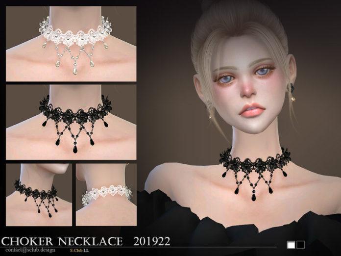 Ажурное ожерелье от S-Club для Sims 4