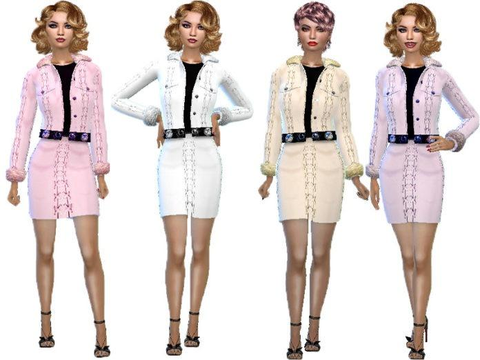 Меховой женский костюм от TrudieOpp для Sims 4