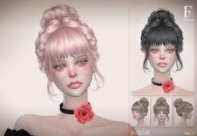 Женская прическа «Пучок и косички» от S-Club для Sims 4