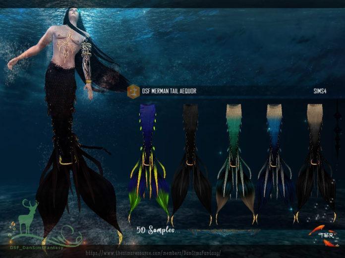 Хвосты русалок «Неон» от DanSimsFantasy для Sims 4