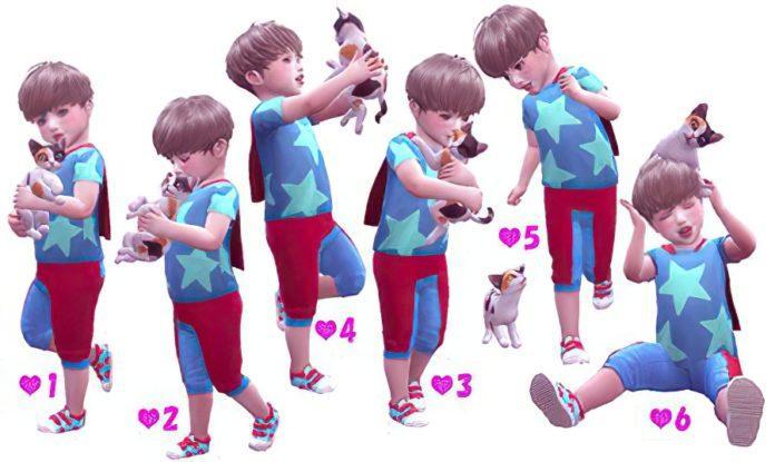 Набор поз «Малыш и котёнок» от ayumea для Sims 4
