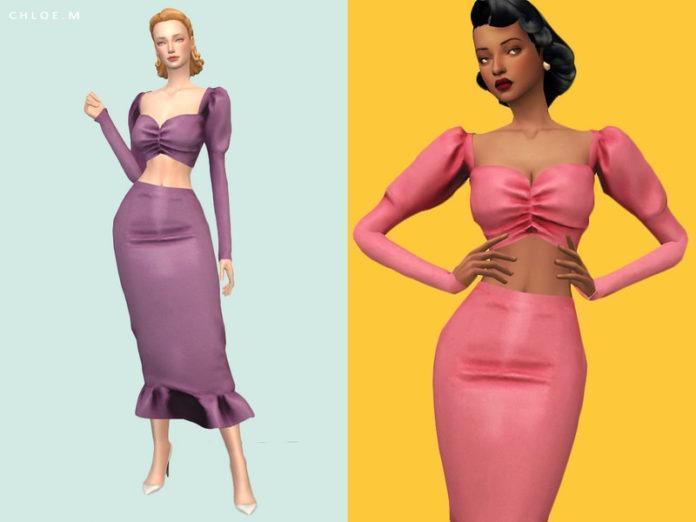 Винтажный топ «Хлоя» от ChloeMMM для Sims 4