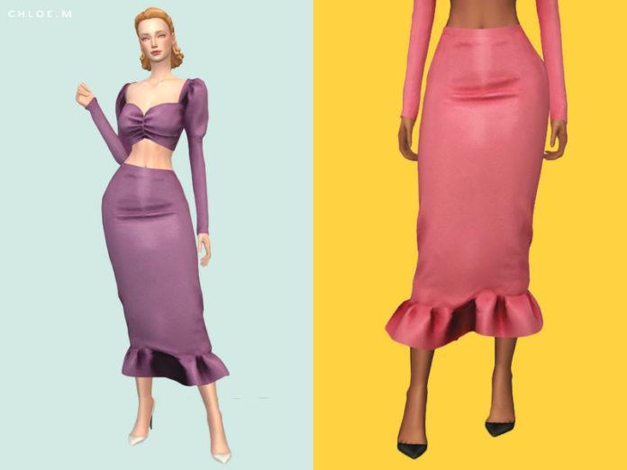 Винтажная юбка «Хлоя» от ChloeMMM для Sims 4