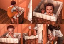 Набор поз «Малыш в корзине» от KatVerseCC для Sims 4