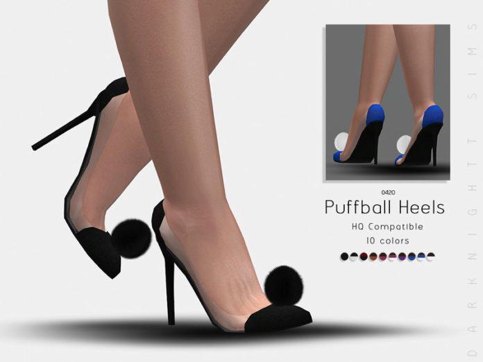 Туфли на каблуке с помпоном от DarkNighTt для Sims 4
