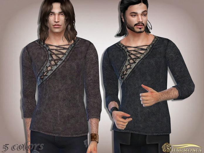 Мужская рубашка с вырезом от Harmonia для Sims 4