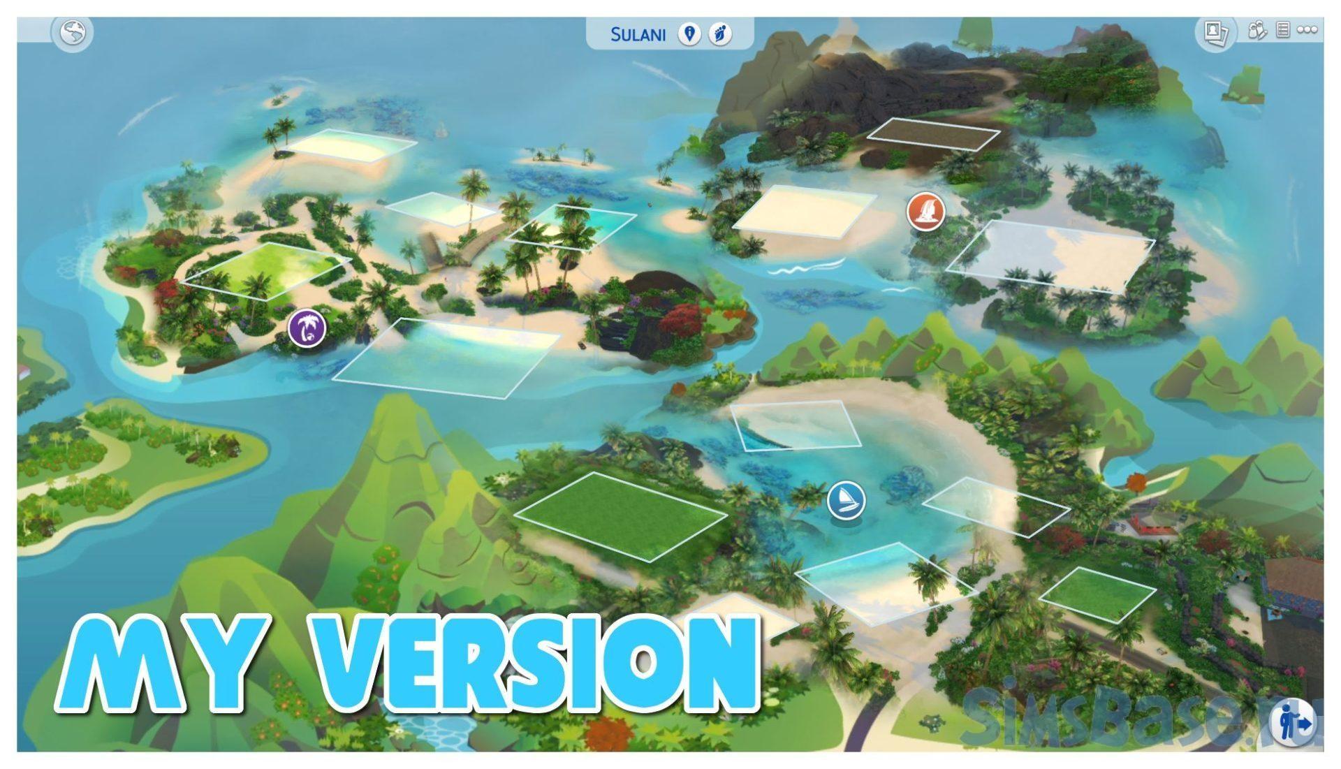 Реальная карта Сулани от OnverserSims для Sims 4