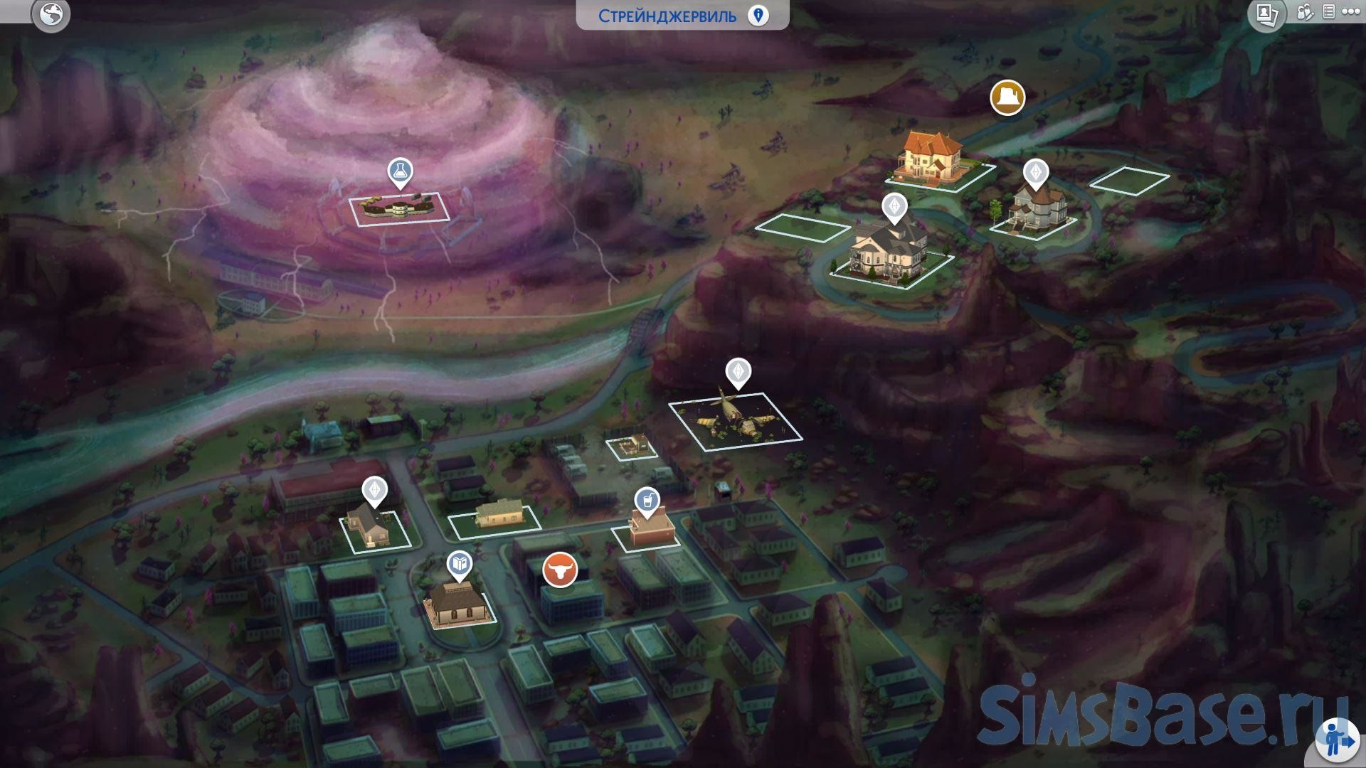 Мод «Перерисовка карты Стрейнджервиля» от DerShayan для Sims 4