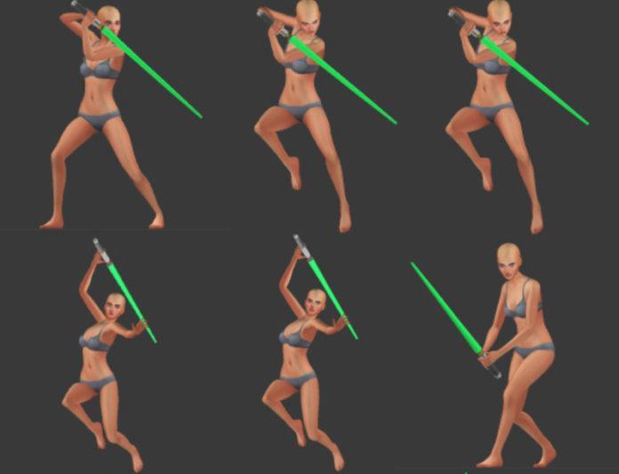 Набор поз «Фехтование световым мечом» от cazmari для Sims 4