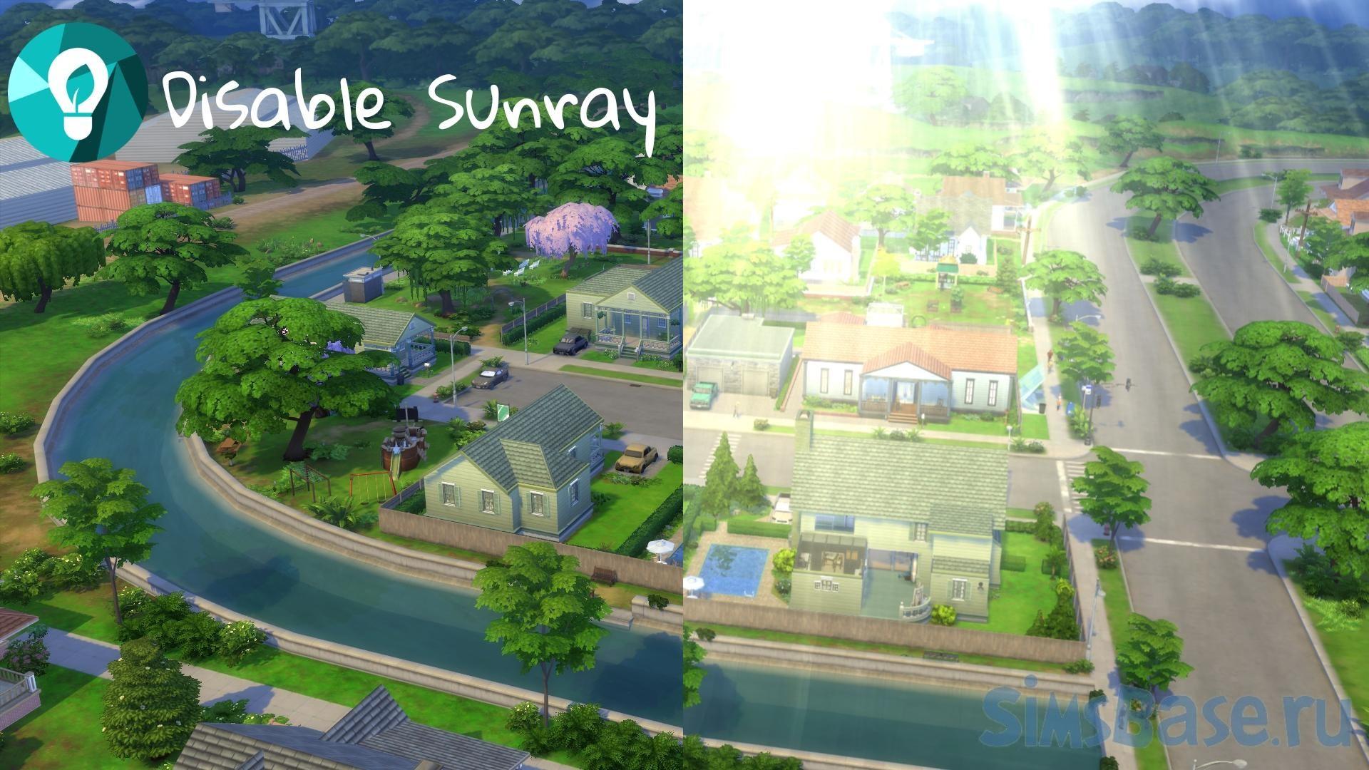 Мод «Отключение солнца в экорайонах» от CommodoreLezmo для Sims 4
