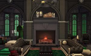 Общая комната Слизерин от llamabuilds для Sims 4