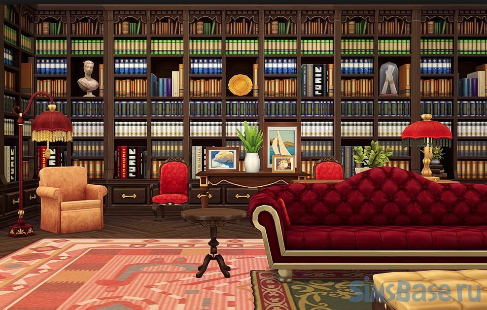Комната-библиотека от LLAMABUILDS для Sims 4