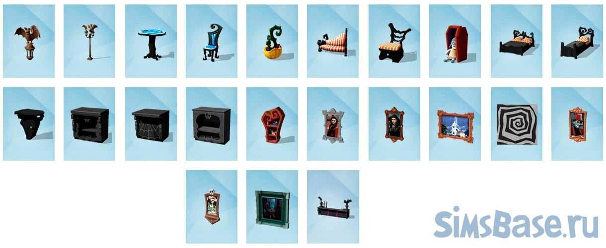 Набор предметов «Летучие мыши, живые картины и немного Бертона» от Luminous для Sims 4