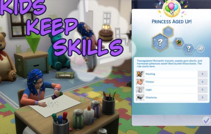 Мод «Дети сохраняют навыки при взрослении» от PBHiccup для Sims 4