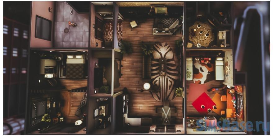 Квартира 121, Хаким Хаус, Сан Мишуно от Crazybanana941 для Sims 4