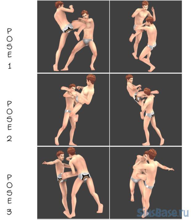 Набор поз для драки от HoneysSims4 для Sims 4